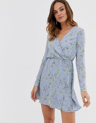Yumi wrap front mini dress-Blue