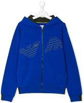 Armani Junior logo zipped hoodie
