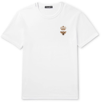 Dolce & Gabbana Embroidered Cotton-Jersey T-Shirt