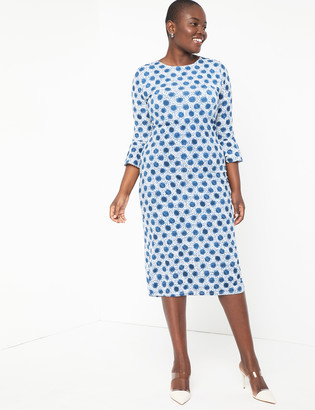 ELOQUII Midi Dress with Flounce Sleeve