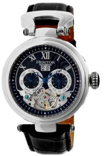 Heritor Automatic Ganzi Silver & Black Leather Watches 44mm