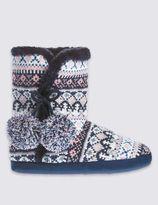 Marks and Spencer Pull On Fairisle Slipper Boots