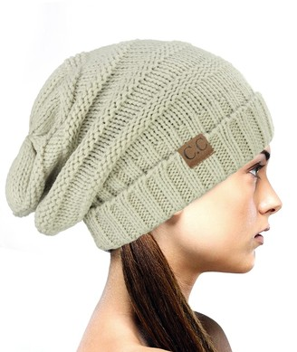 NYFASHION101 Exclusive Oversized Baggy Slouchy Thick Winter Beanie Hat - Beige