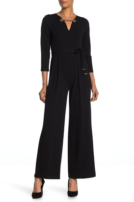 Tommy Hilfiger Chain Accent Long Sleeve Jumpsuit