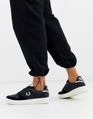 Fred Perry kick serve b300 leather trainers-Black