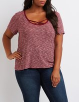 Charlotte Russe Plus Size Strappy Ringer Ribbed Tee