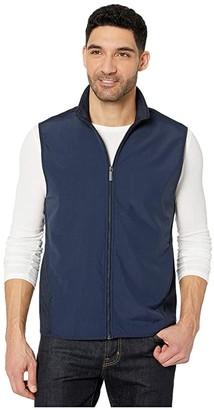 Perry Ellis Solid Stretch Full Zip Fleece Sleeveless Vest (Dark Sapphire) Men's Clothing