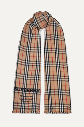 Burberry Checked Embroidered Cashmere Scarf - Brown