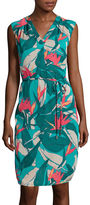 Liz Claiborne Sleeveless V-Neck Tropical Dress