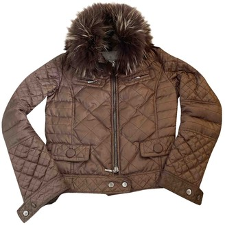 Moncler Fur Hood Brown Coat for Women