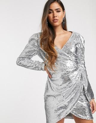 Skylar Rose wrap front mini dress in sleek sequin