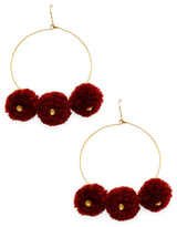 Chan Luu Pom Pom Hoop Statement Earrings