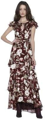 Alice + Olivia Jenny Flutter Sleeve Maxi Dress