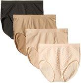 Ellen Tracy Women's 4 Pack Jacquard Dot Full Brief Panty