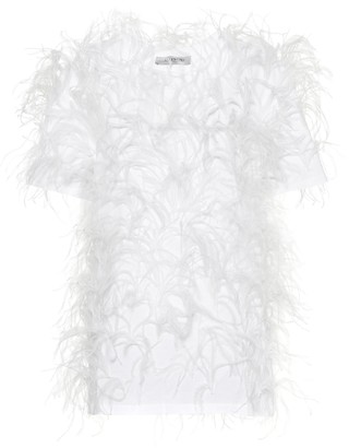 Valentino Feather-trimmed cotton top