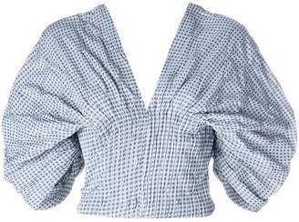 Jonathan Simkhai Smocked Gingham Dropped Sleeve Bustier top