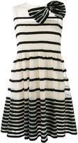 RED Valentino striped bow applique mini dress