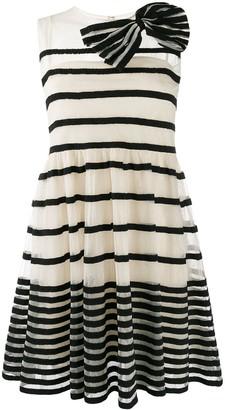 RED Valentino striped bow appliqué mini dress