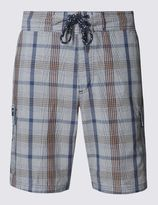 Marks and Spencer Cotton Rich Quick Dry Checked Swim Shorts