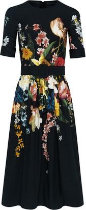 Oscar de la Renta Belted Bouquet Midi Dress