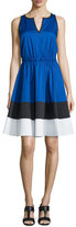 Kate Spade Sleeveless Colorblock Stretch-Cotton Fit & Flare Dress