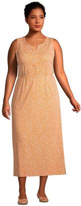 Lands' End Plus Size Cotton-Blend Sleeveless Midi Shirt Dress