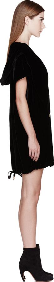 Alexander McQueen Black Velvet Hooded Dress