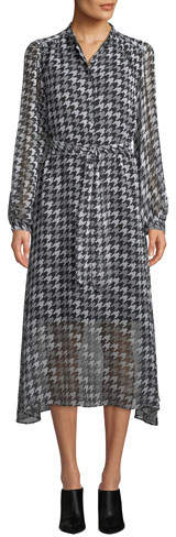 Equipment Francois Silk Houndstooth Midi-Length Shirtdress