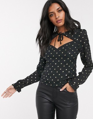Fashion Union tie front sweetheart blouse in allover gold dot-Black