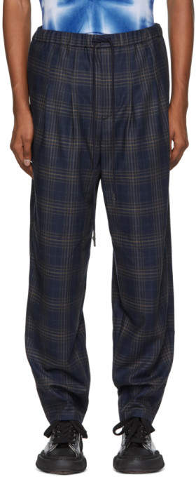 Toga Virilis Blue Checkered Wool Trousers