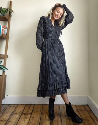 AllSaints Lara long sleeve polka dot maxi dress with ruffle detail in black