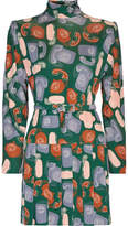 Miu Miu Belted Printed Jersey Mini Dress - Green