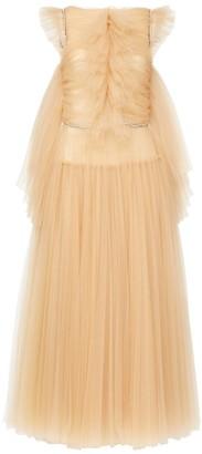 KHAITE Paige Crystal-embellished Tulle Midi Dress - Beige