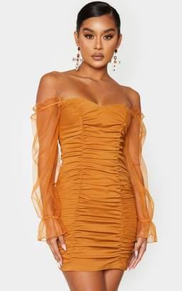 Pure Camel Ruched Bardot Chiffon Sleeve Bodycon Dress