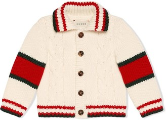 Gucci Kids Baby cable knit wool cardigan