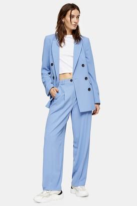 Topshop Blue Twill Peg Suit Pants
