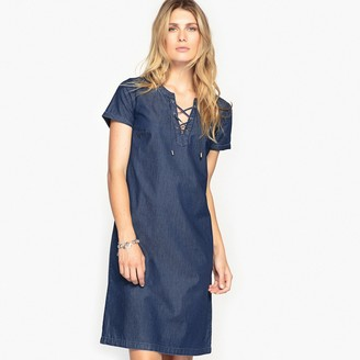 Anne Weyburn Draping Tunic Shift Dress in Denim with Short Sleeves