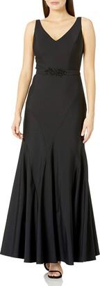 Ignite Women's Sleeveless Seamed V-Neck Beaded Belt Trumpet Skirt Gown