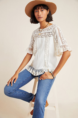 Maeve Lisabetta Lace Blouse By in White Size 0
