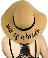 C&C C.C Women's Paper Weaved Crushable Beach Embroidered Quote Floppy Brim Sun Hat
