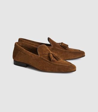 Reiss Larch - Suede Tassel Loafers in Tan