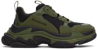 Balenciaga Black and Khaki Triple S Sneakers