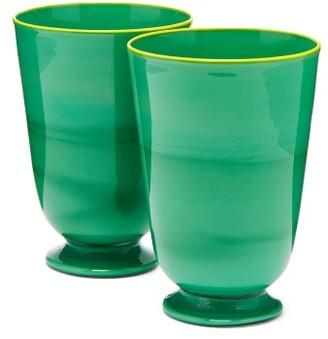 La DoubleJ Set Of Two Murano Glasses - Green