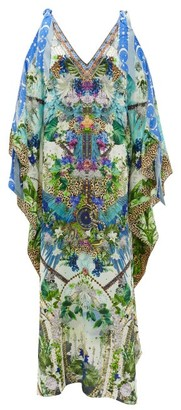 Camilla Shoulder-ties Leopard And Floral-print Silk Kaftan - White Print