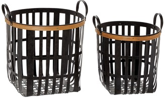 """Willow Row Black Metal And Natural Wood Basket With Handles - Set Of 2: 17"""" - 20"""""""