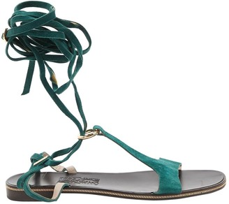 Salvatore Ferragamo Green Suede Sandals