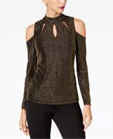 Thalia Sodi Metallic Cutout Cold-Shoulder Top, Created for Macy's