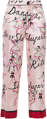 F.R.S For Restless Sleepers Ceo Cropped Printed Silk-twill Straight-leg Pants