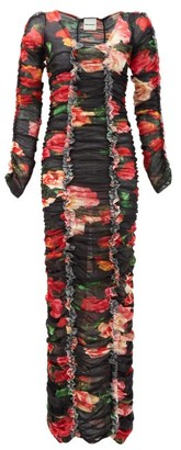 Molly Goddard Roma Gathered Floral-print Mesh Maxi Dress - Red Print