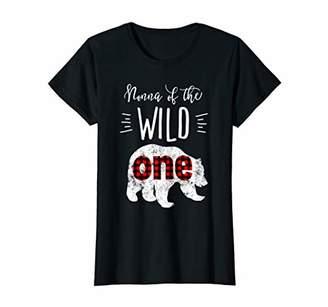 Womens Nonna of the Wild One Vintage Bear Lumberjack 1st Birthday T-Shirt
